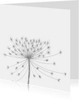 Rouwkaarten - Rouwkaart bloemsilhouet grijs