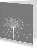 Rouwkaarten - Rouwkaart bloemsilhouet wit