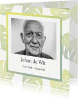 Rouwkaarten - Rouwkaart foto en groene bladeren