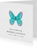 Rouwkaarten - Rouwkaart kindje stijlvol met handgeschilderde vlinder