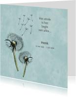 Rouwkaart paardebloemen