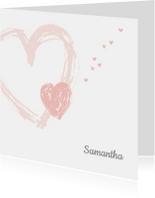 Rouwkaarten - Rouwkaart pastel hartjes