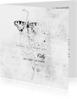 Rouwkaarten - Rouwkaart witte vlinder softly