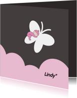 Rouwkaarten - Rouwkaartje meisje op vlinder