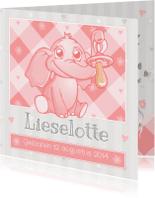 Geboortekaartjes - Roze Baby Olifantje Met Speen