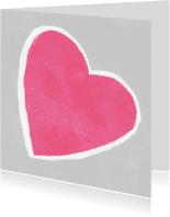 Moederdag kaarten - Roze hart op licht grijze achtergrond