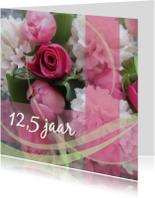 Jubileumkaarten - Roze jubileumkaart bloemen