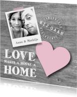 Verhuiskaarten - Samenwonen hout foto hart stoer