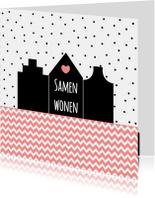 Verhuiskaarten - Samenwonen kaartje Huisjes - WW