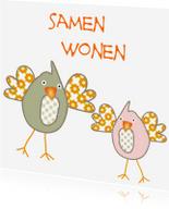 Felicitatiekaarten - Samenwonen kaartje met vogeltjes