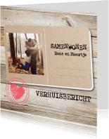 Verhuiskaarten - Samenwonen postcard hout