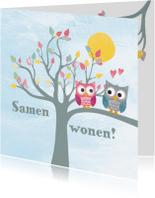 Felicitatiekaarten - Samenwonen uiltjes in boom