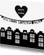 Verhuiskaarten - Samenwonen zwartwit huisjes letterslinger