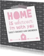 Verhuiskaarten - Samenwonenkaart tekst pijlen stoer
