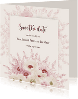 Trouwkaarten - Save the date anemonen pastel
