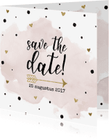 Trouwkaarten - Save the date aquarel goudfolie