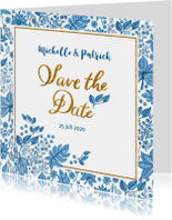 Trouwkaarten - Save the date blauwe bladeren