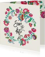 Trouwkaarten - Save the Date bloemen modern