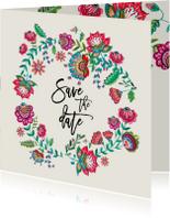 Trouwkaarten - Save the Date bloemen modern
