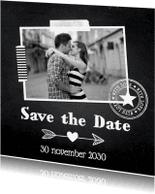 Trouwkaarten - Save the Date eigen foto krijtbord