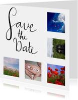 Trouwkaarten - Save the date fotocollage handlettering