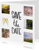 Trouwkaarten - Save the date fotocollage met  handlettering