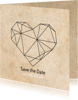 Trouwkaarten - Save the date geometrisch hart