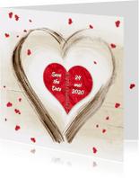 Trouwkaarten - Save the date Hartjes - SG