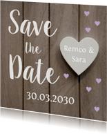 Save the Date houtlook hartjes