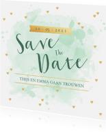Trouwkaarten - Save the Date kaart aquarel tekst hartjes