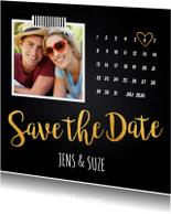 Trouwkaarten - Save the Date kaart foto kalender krijtbord