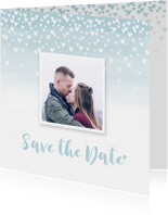 Trouwkaarten - Save the date kaart hartjes aquarel foto