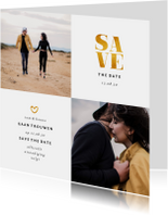 Trouwkaarten - Save the date kaart met foto's en gouden accenten vierkant