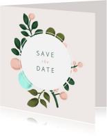 Trouwkaarten - Save the date kaart met geschilderde takken en kader