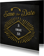 Trouwkaarten - Save the date krijtbord goud SG