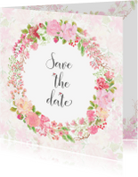 Trouwkaarten - Save the date rozen pastel