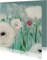 Kunstkaarten - schilderij bloemen in mist