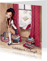School Meisje Boeken DIPLOMA Illustratie