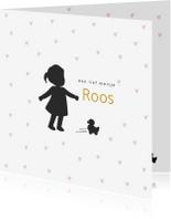 Geboortekaartjes - Silhouet geboortekaartje meisje met hartjes