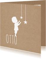 Geboortekaartjes - Silhouet Jongen Sterren Kraft