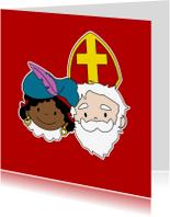 Sinterklaaskaarten - Sinterklaas en Zwarte Piet 1a