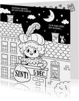 Sinterklaaskaarten - Sinterklaas inkleurkaart   - Tirzaworld