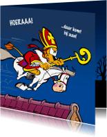 Sinterklaaskaarten - Sinterklaas Loeki op het dak - A