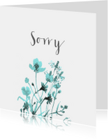 Sorry kaart met getekende veldbloemen