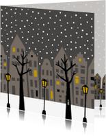 Kerstkaarten - Stad in de sneeuw 's nachts