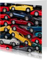 Verjaardagskaarten - stapel autootjes vierkant