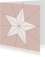 Kerstkaarten - Ster geometrisch oudroze