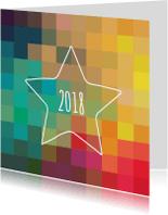 Nieuwjaarskaarten - Ster kleurig eigen tekst