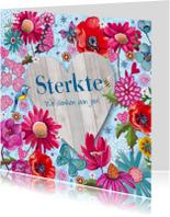 Sterkte kaarten - Sterkte Bloemen HOUT hart vlinders