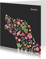 Condoleancekaarten - Sterkte hond silhouet, bloemen